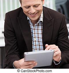 ευθυμία ανήρ , χρησιμοποιώνταs , ένα , tablet-pc