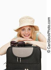 ευθυμία γυναίκα , διάθεση αναμμένος , ένα , βαλίτσα