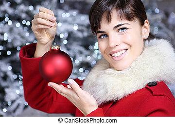ευθυμία γυναίκα , μπάλα , xριστούγεννα , κόκκινο