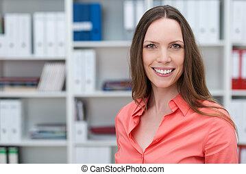 ευθυμία γυναίκα , νέος , γραφείο , καυκάσιος