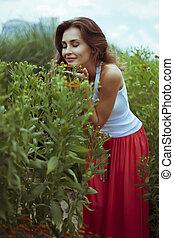 ευθυμία γυναίκα , νέος , φύση