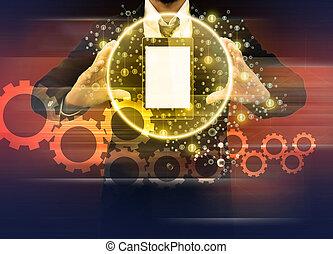 ευκίνητος τηλέφωνο , κράτημα , κόσμοs , επιχειρηματίας , τεχνολογία