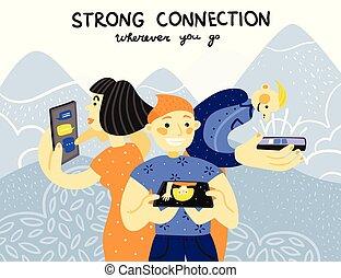 ευκίνητος τηλέφωνο , σύνδεση , αφίσα