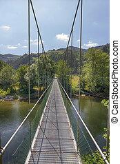ευρύς , πάνω , ποτάμι , κρεμαστή γέφυρα