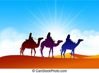 ευρύς , σύνολο , μέσο , καραβάνι , ρεαλιστικός , καμήλες , άμμος , ιππασία , ανατολή , εγκαταλείπω
