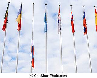 ευρώπη , ιπτάμενος , σημαία , strasbou, μεσίστιος , συμβούλιο , ρωσία