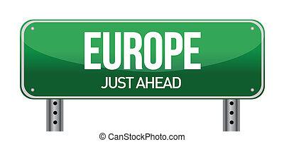 ευρώπη , κατεύθυνση , δρόμος αναχωρώ