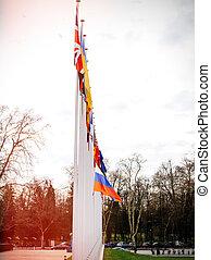 ευρώπη , κτίριο , ιπτάμενος , σημαία , μεσίστιος , συμβούλιο , ρωσία