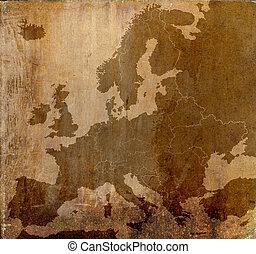 ευρώπη , χάρτηs , καμβάς , grunge , πρότυπο