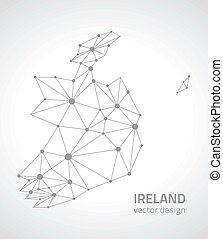ευρώπη , χάρτηs , περίγραμμα , γκρί , μικροβιοφορέας , ιρλανδία