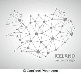 ευρώπη , χάρτηs , περίγραμμα , ισλανδία , γκρί , polygonal, μικροβιοφορέας