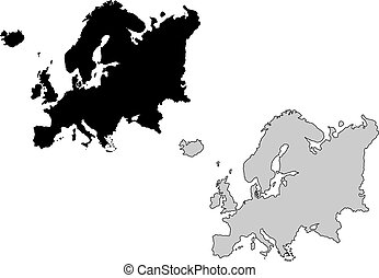 ευρώπη , projection., map., μαύρο , white., mercator