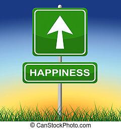 ευτυχία , σήμα , αποδεικνύω , χαρά , αφίσα , και , βέλος