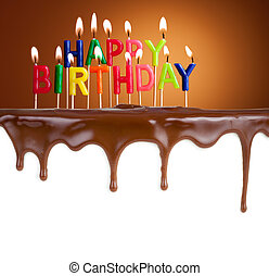 ευτυχισμένα γεννέθλια , αβαρής κερί , επάνω , σοκολάτα...
