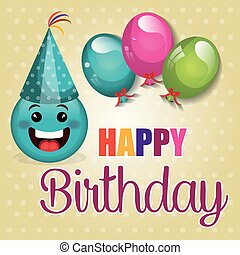 ευτυχισμένα γεννέθλια , κάρτα , με , emoticon