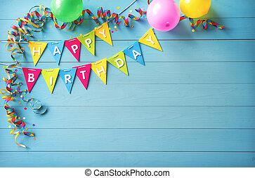 ευτυχισμένα γεννέθλια , πάρτυ , φόντο , με , εδάφιο , και , γραφικός , εργαλεία