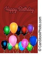 ευτυχισμένα γεννέθλια , balloon, φόντο , με , χρυσός , streamers., μικροβιοφορέας , illustration.