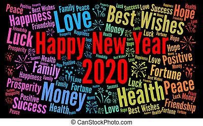 ευτυχισμένος , έτος , καινούργιος , 2020
