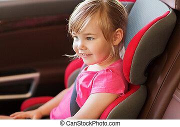 ευτυχισμένος , αδύναμος δεσποινάριο , κάθονται , μέσα , βρέφος άμαξα αυτοκίνητο βάζω καινούργιο καβάλο