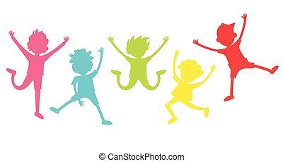 ευτυχισμένος , αξίωμα , παιδιά , διαφορετικός , silhouettes., συλλογή