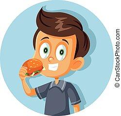 ευτυχισμένος , γελοιογραφία , κατάλληλος για να φαγωθεί ωμός , χάμπουργκερ , μικροβιοφορέας , αγόρι