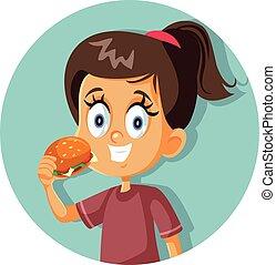 ευτυχισμένος , γελοιογραφία , κορίτσι , κατάλληλος για να φαγωθεί ωμός , χάμπουργκερ , μικροβιοφορέας