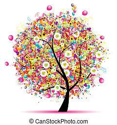 ευτυχισμένος , γιορτή , αστείος , δέντρο , με , μπαλόνι