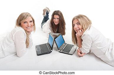 ευτυχισμένος , δεσποινάριο , laptops