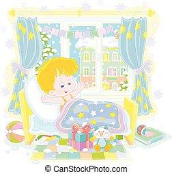 ευτυχισμένος , δικαίωμα παροχής , αγόρι , βρεφικό δωμάτιο , γιορτή