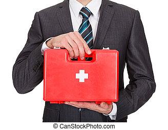 ευτυχισμένος , επιχειρηματίας , κράτημα , πρώτεs βοήθειεs , κουτί