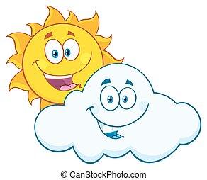 ευτυχισμένος , καλοκαίρι , ήλιοs , και , χαμογελαστά , σύνεφο
