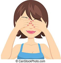 ευτυχισμένος , μάτια , γυναίκα , επίστρωση