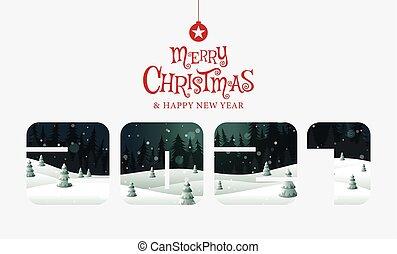 ευτυχισμένος , μικροβιοφορέας , illustration., εύθυμος , καλλιγραφία , χρυσαφένιος , καινούργιος , , φαντασία , xριστούγεννα , έτος