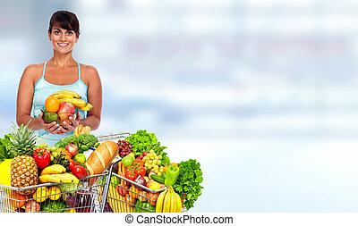 ευτυχισμένος , νέα γυναίκα , με , είδη μπακαλικής αγοράζω από καταστήματα , cart.