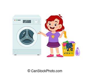 ευτυχισμένος , πλύση , μπουγάδα , παιδί , χαριτωμένος , μηχανή