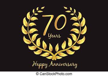 ευτυχισμένος , στεφάνι , 70th, δάφνη , χρυσός , επέτειος