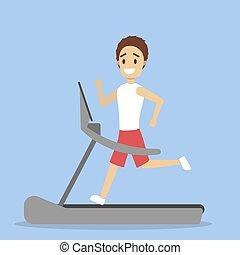 ευτυχισμένος , τρέξιμο , καταλληλότητα , άντραs , ποδόμυλος