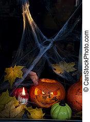 ευτυχισμένος , halloween!, ο , παράθυρο , από , ένα , σπίτι , διακόσμησα , για , ο , holiday.