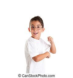 ευτυχισμένος , nerd , παιδί , έκφραση , παιδιά , γυαλιά