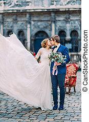 ευτυχώς , ζευγάρι , δικό τουs , καταπληκτικός , γάμοs , ασπασμός , ημέρα