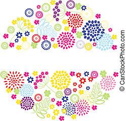 ευφυής , καλοκαίρι , λουλούδια , στρογγυλός , frame.