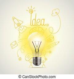 ευφυής , λάμπα , μικροβιοφορέας , illustration., ιδέα , γενική ιδέα