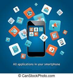 εφαρμογές , smartphone, αφίσα