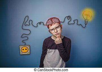 εφηβικής ηλικίας , γυαλιά , σκεπτόμενος , αναθέτω , κατηγορώ , αγόρι , εγκέφαλοs , αρωγός
