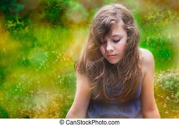 εφηβικής ηλικίας , ντροπαλός , n , έξω , μόνος , κορίτσι