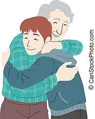 εφηβική ηλικία αγόρι , αγκαλιάζω , εικόνα , ανώτερος ανήρ