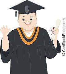 εφηβική ηλικία αγόρι , σύνδρομο , εικόνα , απόφοιτοs , κάτω