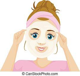 εφηβική ηλικία δεσποινάριο , ελαστοϊδίνη , μάσκα , εικόνα