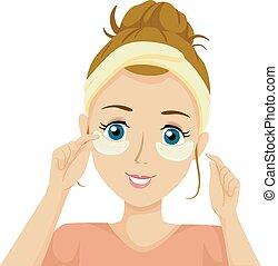 εφηβική ηλικία , μάτι , κορίτσι , μάσκα , εικόνα