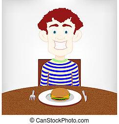 εφηβική ηλικία , burger., πεινασμένος